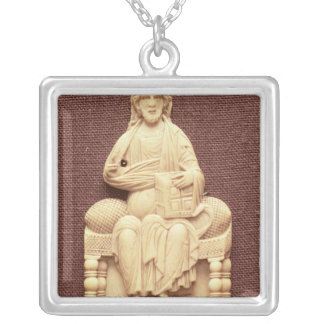 Christ enthroned, Byzantine, 10-11th century Square Pendant Necklace