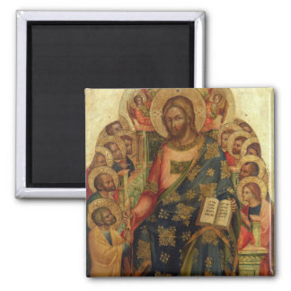 Christ Enthroned with Saints and Angels Handing th 2 Inch Square Magnet