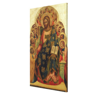 Christ Enthroned with Saints and Angels Handing th Canvas Print