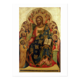 Christ Enthroned with Saints and Angels Handing th Postcard