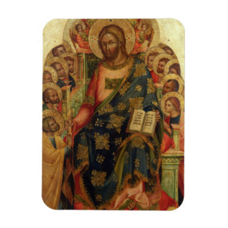 Christ Enthroned with Saints and Angels Handing th Rectangular Magnet