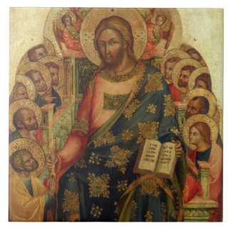 Christ Enthroned with Saints and Angels Handing th Tile