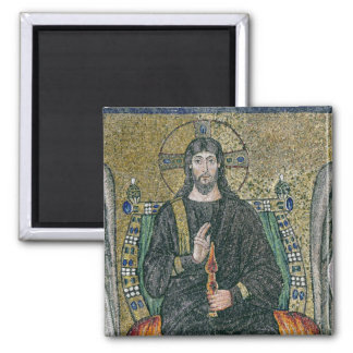 Christ enthroned with the angels 2 inch square magnet