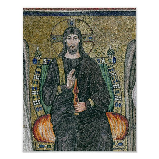 Christ enthroned with the angels poster