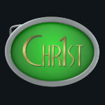 """Christ First Oval Belt Buckle<br><div class=""""desc"""">Original custom design &quot;Christ First&quot; symbol not available in any other store.</div>"""