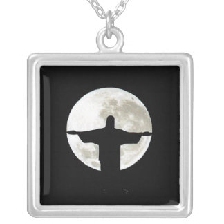 Christ Hugs the Moon (squared format) Square Pendant Necklace