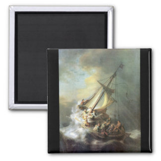Christ in a storm on the sea of Galilee -Rembrandt 2 Inch Square Magnet