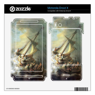 Christ in a storm on the sea of Galilee -Rembrandt Skin For Motorola Droid X