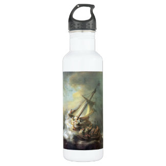 Christ in a storm on the sea of Galilee -Rembrandt Stainless Steel Water Bottle