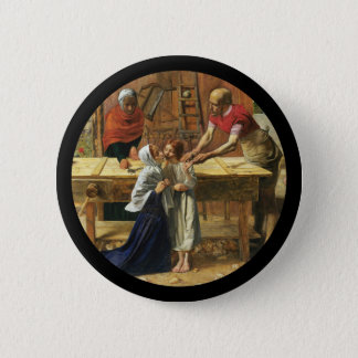 Christ in His Father's Carpenter Shop Button