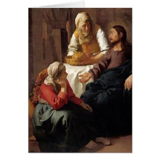 Christ in House of Martha,Mary by Johannes Vermeer Card