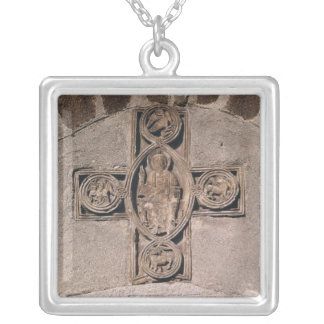 Christ in majesty with symbols of the square pendant necklace