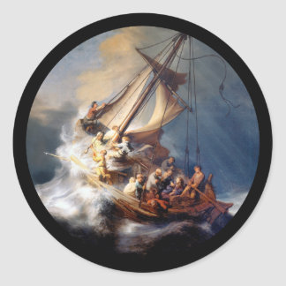 Christ in Storm Sea of Galilee Classic Round Sticker
