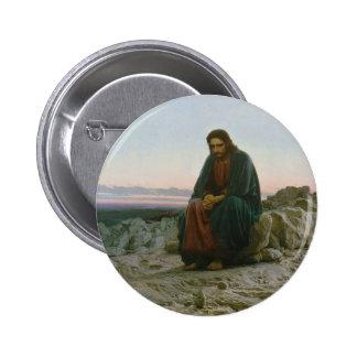 Christ in the Desert by Ivan Nikolaevich Kramskoi 2 Inch Round Button
