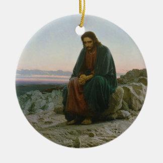 Christ in the Desert by Ivan Nikolaevich Kramskoi Double-Sided Ceramic Round Christmas Ornament
