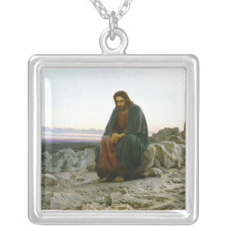 Christ in the Desert Silver Plated Necklace