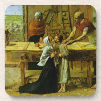 Christ in the house of his parents beverage coaster