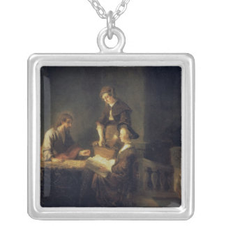 Christ in the House of Martha and Mary Square Pendant Necklace
