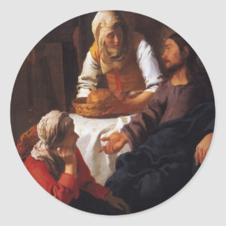 Christ in the House of Mary & Martha Classic Round Sticker