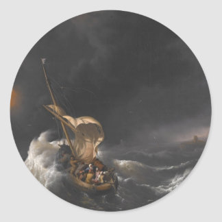 Christ in the Storm on the Sea of Galilee c. 1695 Classic Round Sticker