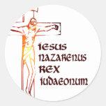 Christ INRI Tradution Round Stickers