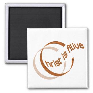Christ is alive Motif Cuivre. 2 Inch Square Magnet