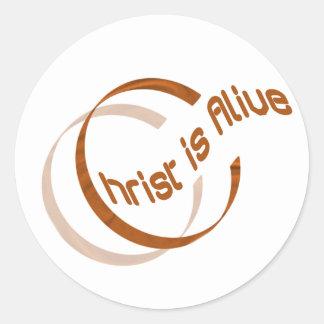 Christ is alive Motif Cuivre. Classic Round Sticker