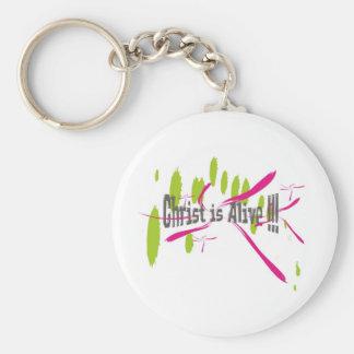 Christ Is Alive sur taches vertes et roses Keychain