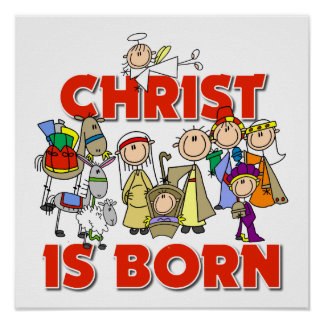 Christ Is Born Christian Nativity Christmas Gift Poster