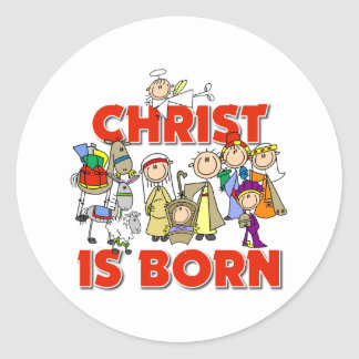 Christ Is Born Christmas Gift Classic Round Sticker