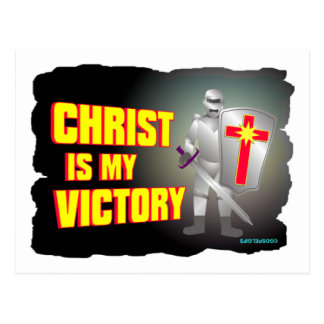 Christ is my victory religious design postcard