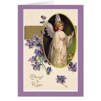 Christ is Risen Angel Violets Vintage Card
