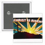 Christ is risen Christian cross gift design Pinback Buttons