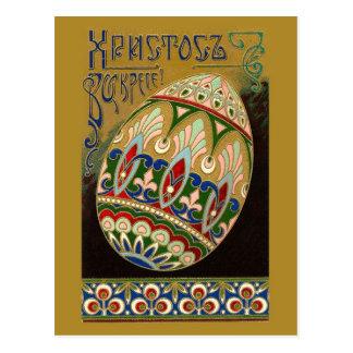 Christ Is Risen! Fine Vintage Russian Easter Egg Postcard
