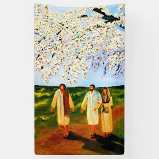 Christ joins the two on the way to Emmaus Banner