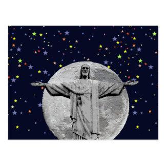Christ, moon and stars postcard