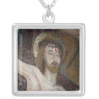 Christ Mosaic Square Pendant Necklace