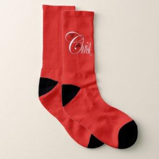 Christ N Me, Me N Christ Large Red Socks