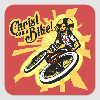 Christ On a Bike Square Sticker