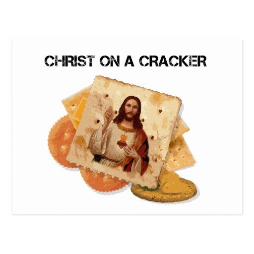 Christ on a cracker postcard