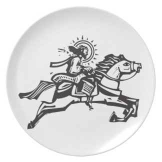 Christ on a Jumping Horse Dinner Plate