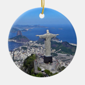 CHRIST ON CORCOVADO MOUNTAIN Double-Sided CERAMIC ROUND CHRISTMAS ORNAMENT