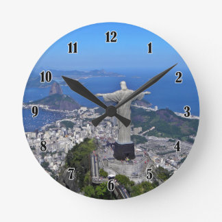 CHRIST ON CORCOVADO MOUNTAIN ROUND WALL CLOCKS