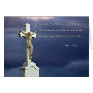 Christ on cross with biblical text greeting card
