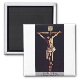 Christ On The Cross By Zurbarán Francisco De 2 Inch Square Magnet