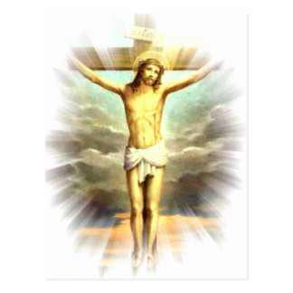 Christ on the cross for your sins post card