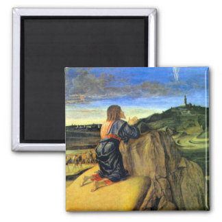 Christ on the Mount of Olives by Bellini 2 Inch Square Magnet