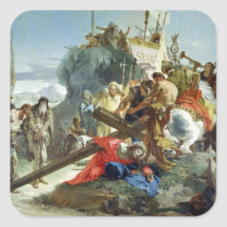 Christ on the Road to Calvary, 1749 (oil on canvas Square Sticker