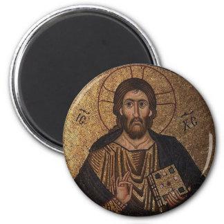 Christ Pantocrator Mosaic Christian 2 Inch Round Magnet