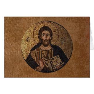 Christ Pantocrator Mosaic Religious Card